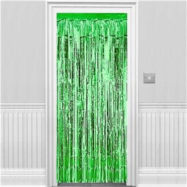 Yeşil Parlak Püsküllü Kapı Perdesi