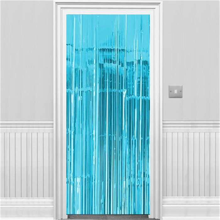 Açık Mavi Parlak Püsküllü Kapı Perdesi