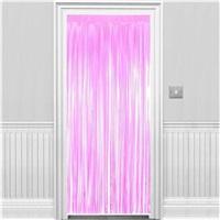 Pembe Püsküllü Kapı Perdesi