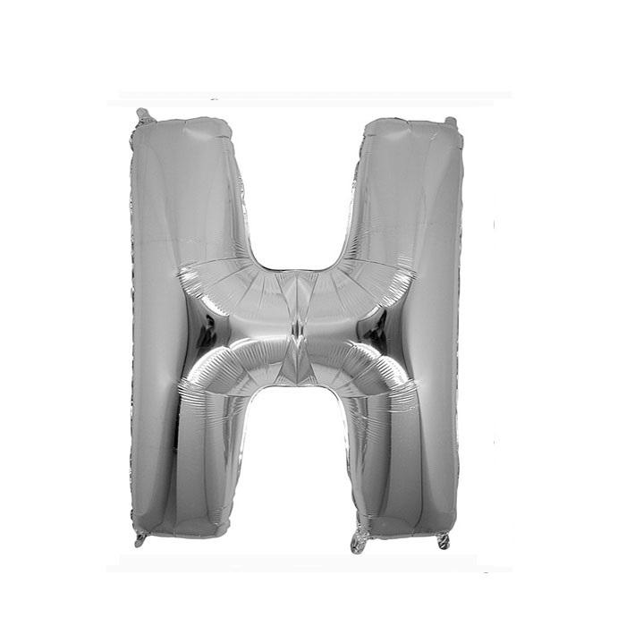 Gümüş H Harf Folyo Balon