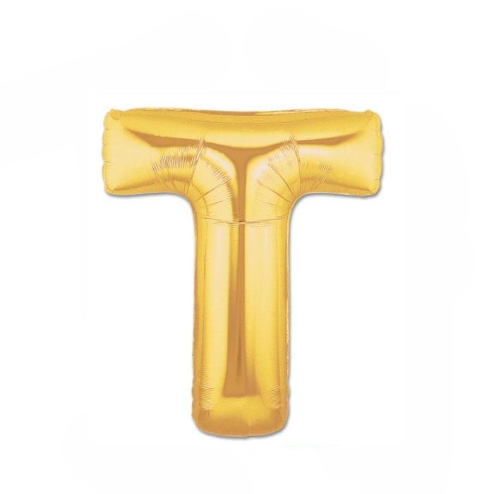 Altın T Harf Folyo Balon