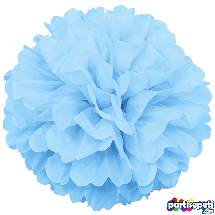 Ponpon Çiçek Süs Mavi