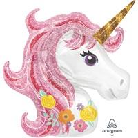 Unicorn Çiçekli Folyo Balon
