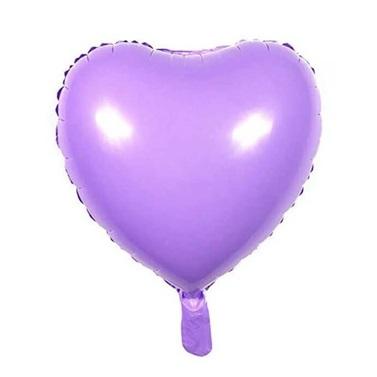 Soft Renk Mor Kalp Folyo Balon
