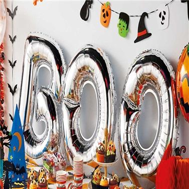 Cadılar Bayramı Gümüş Boo Folyo Balon