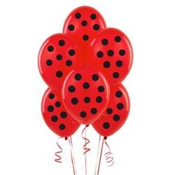 Kırmızı Üzeine Siyah Puanlı Balon