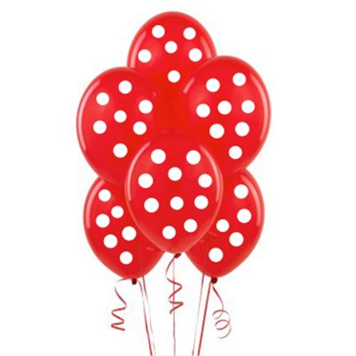 Kırmızı Üzerine Beyaz Puanlı Balon
