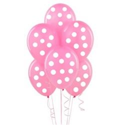 Pembe Üzerine Beyaz Puanlı Balon