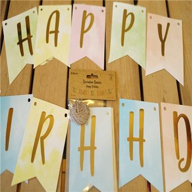 Happy Birthday Gold Yazılı Banner Makaron Renkler