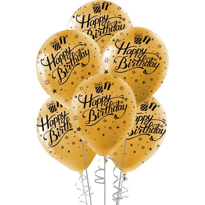 Gold Happy Birthday Lateks Balon