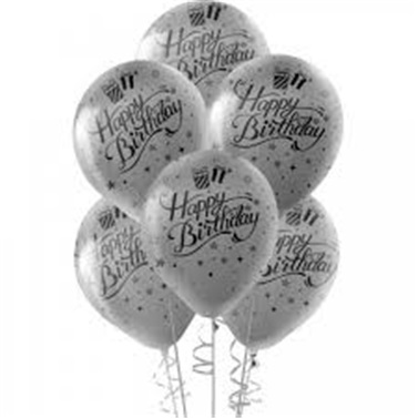 Gümüş Happy Birthday Balon