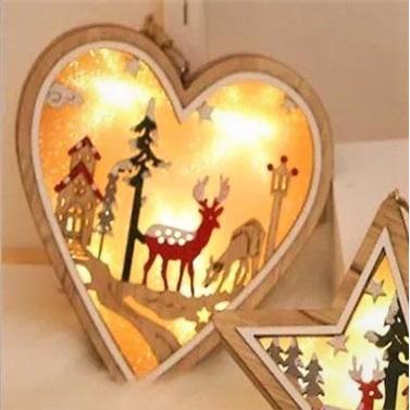Kalp Ahşap Led Işıklı Dekoratif Süs