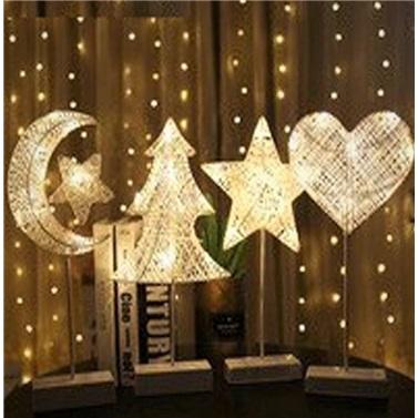 Kalp Rattan Metal Ayaklı Yüksek Kaliteli Dekoratif Gece Lambası
