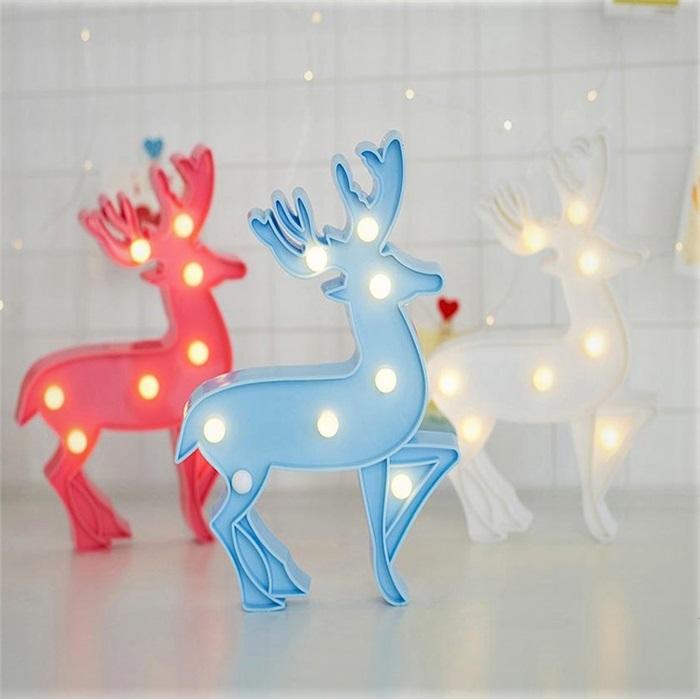 Beyaz Geyik Figürlü Led Işıklı Gece Lambası Dekoratif Aydınlatma