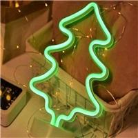 Çam Ağacı Neon Led Işıklı Masa-Gece Lambası Dekoratif Neon Led Lamba