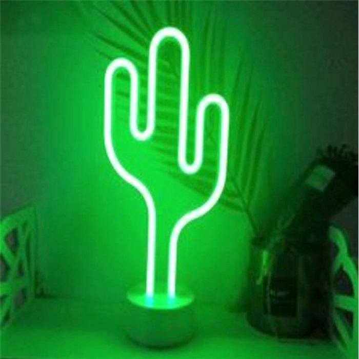 Kaktüs Neon Led Işıklı Masa-Gece Lambası Dekoratif Neon Led Lamba