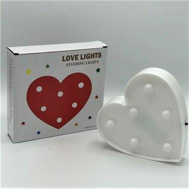 Işıklı Led Beyaz Kalp Dekoratif Aydınlatma