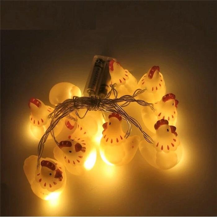 Tavuk Figürlü Sıralı Led Işık Dekoratif Lamba Aydınlatma