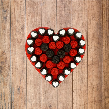 Kalp Gül Kek Buketi