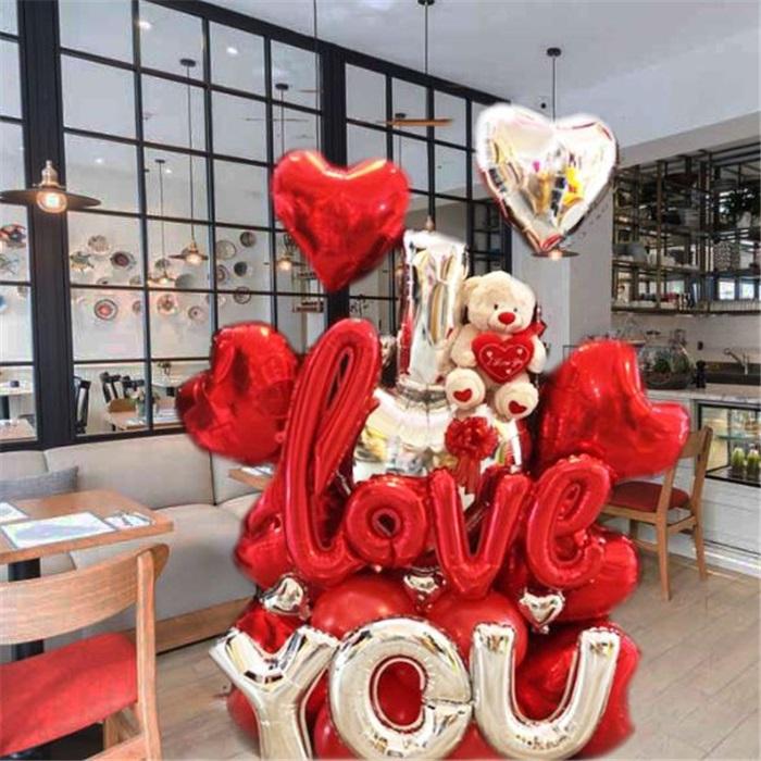 I Love You Ayıcıklı Balon Buket Aranjman