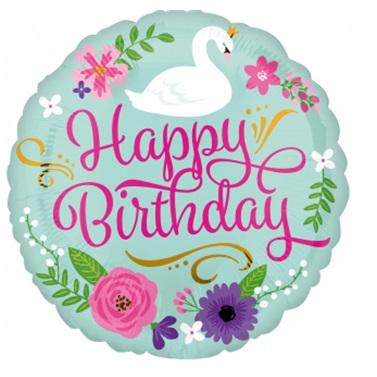 Kuğu Temalı Happy Birthday Folyo Balon