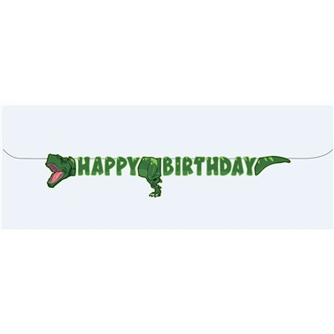 Vahşi Dinozor Happy Birthday Banner