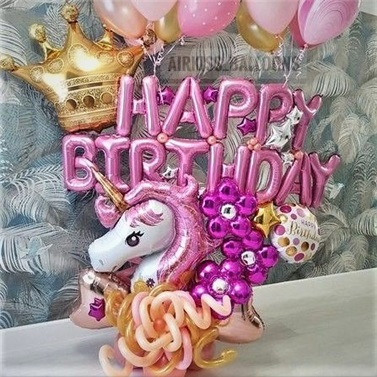 Unicorn Temalı Balon Buket Aranjman