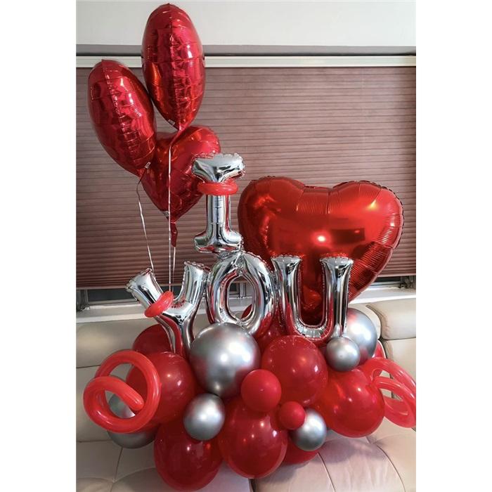 I Love You Konsept Balon Buket Aranjman