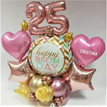Kişiselleştirilebilir Happy Birthday Balon Buket Aranjman