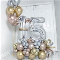 Yaş Temalı Balon Buket Aranjman + Uçan Balon