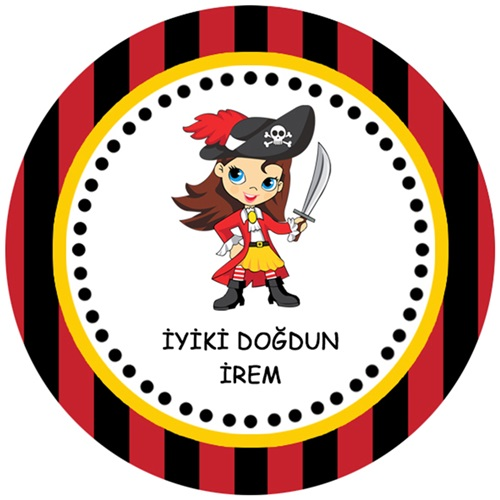 Korsan Kız Kişiye Özel Yapışkanlı Sticker
