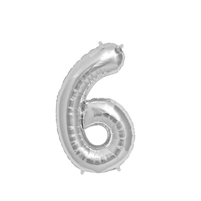 Gümüş 6 Rakam Folyo Balon