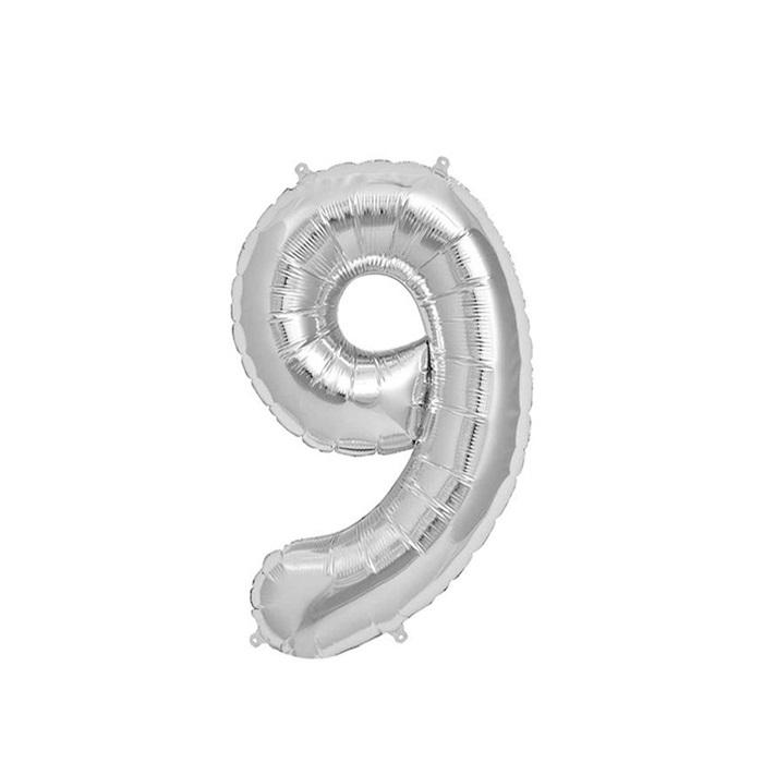 Gümüş 9 Rakam Folyo Balon