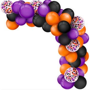 Zincir Balon Seti Siyah - Turuncu - Mor Konfetili