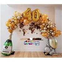 Yaş Temalı Şampanya Konsept Balon Zinciri