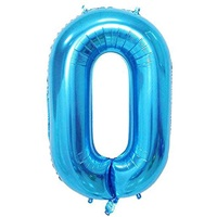 Açık Mavi 0 Rakam Folyo Balon