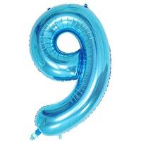 Açık Mavi 9 Rakam Folyo Balon