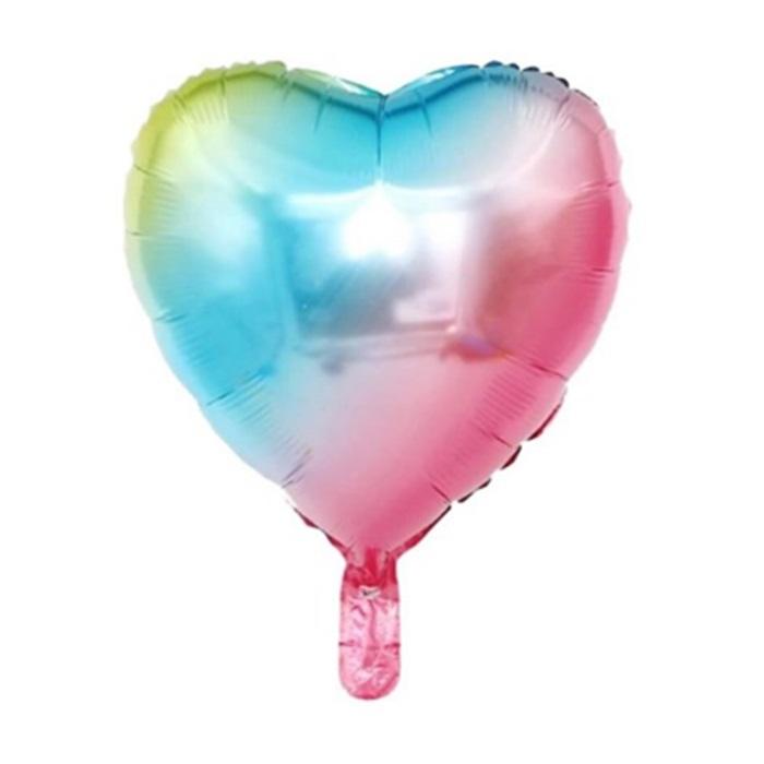 Gökkuşağı Kalp Folyo Balon