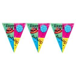 Pastalı Happy Birthday Bayrak