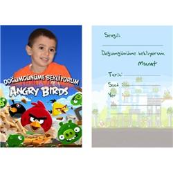 Angry Birds Kişiye Özel Zarflı Davetiye