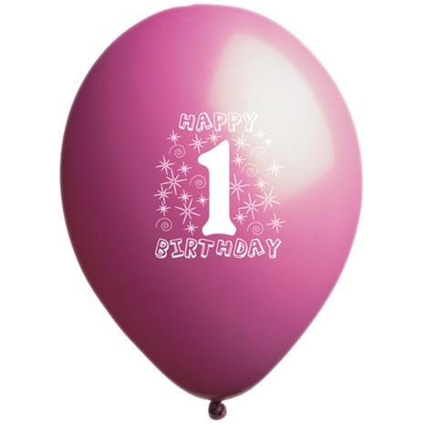 1 Yaş Temalı Pembe Balon