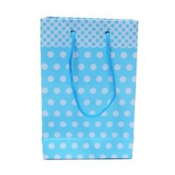 Mavi Puanlı Karton Hediye Çantası