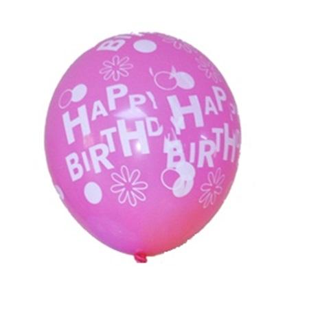 Happy Birthday Baskılı Pembe Balon