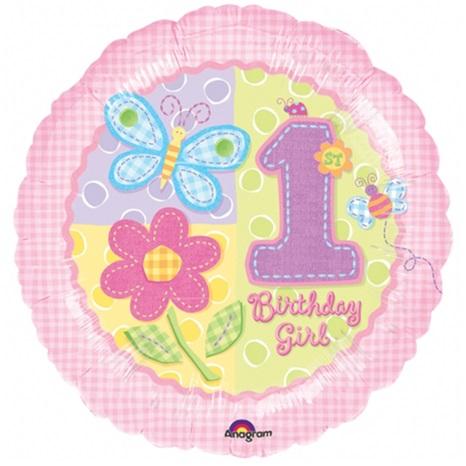 1 Yaş Temalı Çiçekli Folyo Balon