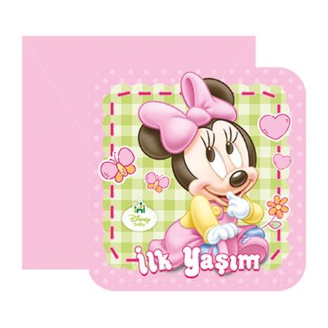 Baby Minnie Mouse Temalı İlk Yaş Temalı Davetiye