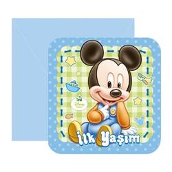 Baby Mickey Mouse Temalı İlk Yaş Temalıım Davetiye
