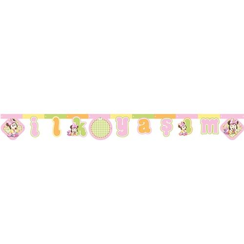 Baby Minnie Mouse Temalı İlk Yaş Temalıım Yazı Banner
