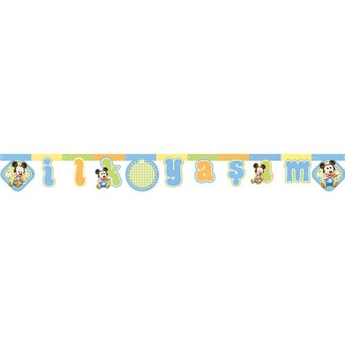 Baby Mickey Mouse Temalı İlk Yaş Temalıım Yazı Banner