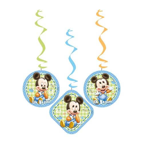 Baby Mickey Mouse Temalı İlk Yaş Temalıım Asma İp Süs