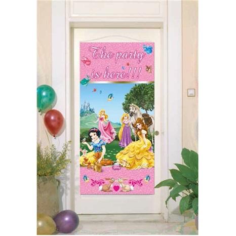 Prensesler Temalı Parti Burada Yazılı Kapı Banner
